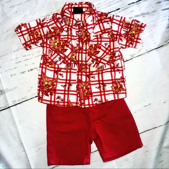 9798e222 Akademiks Bottoms | Hawaiian Shirt Red Jean Shorts Euc | Poshmark